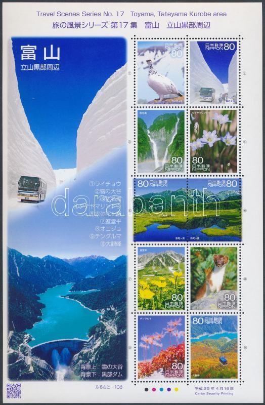 Tourism, landscapes XVII. Attractions in Toyama mini sheet, Turizmus, tájak XVII. Toyama látnivalók kisív