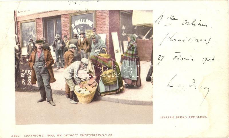 Italian bread peddlers, folklore, Olasz kenyér árus, folklór