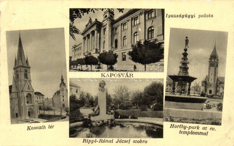 Kaposvár, Igazságügyi palota, Kossuth tér, Horthy park, Rippl-Rónai József szobor