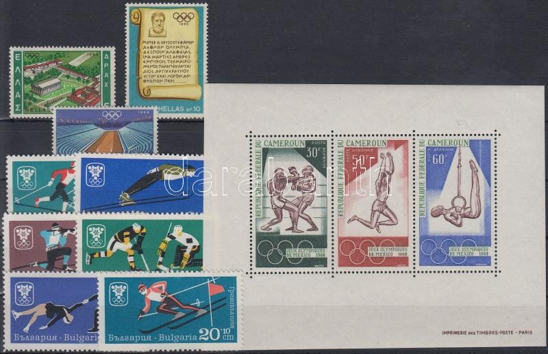 1967-1968 Olympics 2 diff sets + 1 block, 1967-1968 Olimpia motívum 2 klf sor + 1 blokk