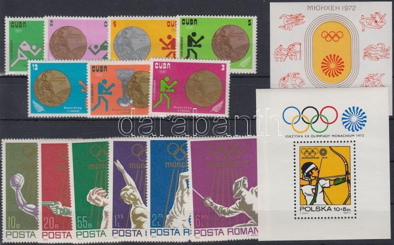 1972-1973 Summer Olympics 2 diff sets + 2 diff block, 1972-1973 Nyári olimpia motívum 2 klf sor + 2 klf blokk