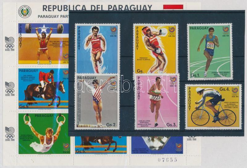 Summer Olympics 1988 6 stamps from set + minisheet, Nyári olimpia, 1988 sorból 6 érték + kisív