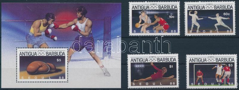Summer Olympics 1988 set + block, Nyári olimpia, 1988 sor + blokk