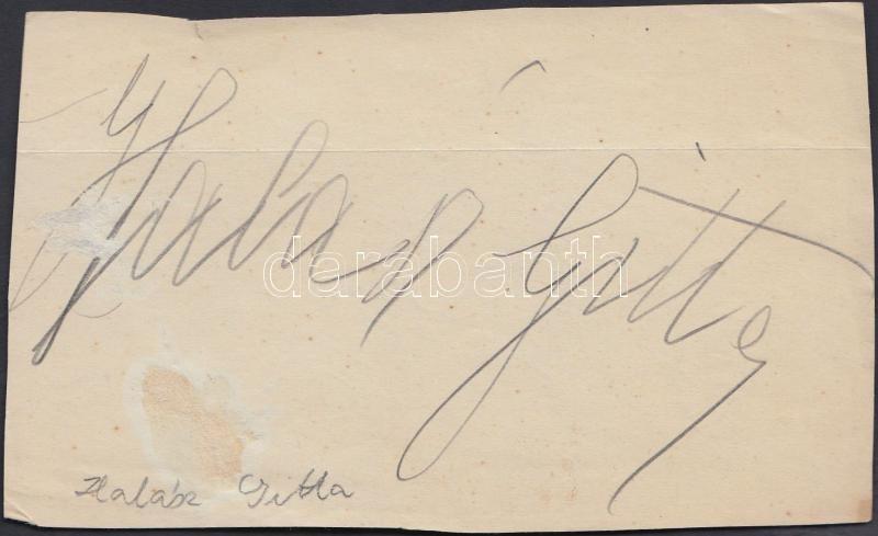 Halász Gitta (1896-?) szoprán énekesnő aláírása