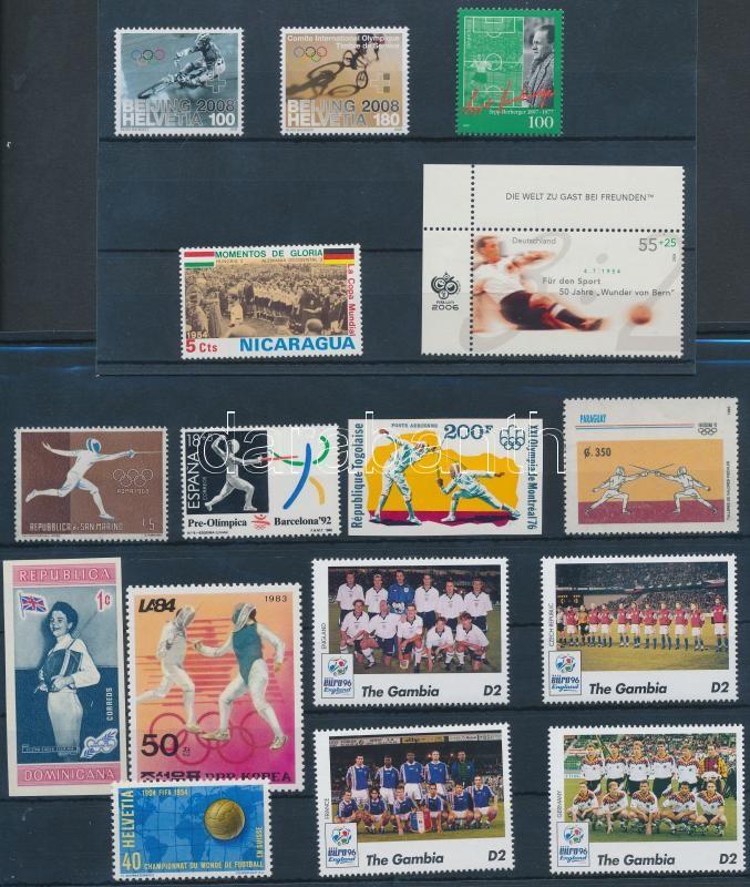 Sport 16 diff stamps, Sport motívum 16 klf bélyeg 2 db stecklapon