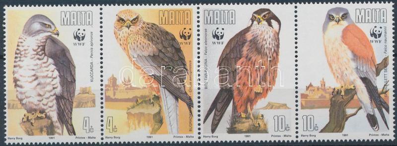 WWF Bird of prey stripe of 4 + 4 FDC, WWF Ragadozómadarak négyescsík + 4 FDC