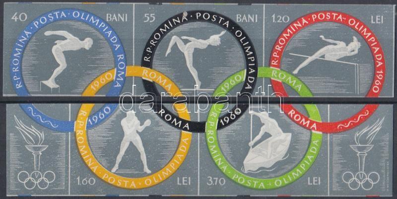 Summer Olympics, Rome set stripe of 2 and 3, Nyári Olimpia, Róma vágott sor kettes-, és hármascsíkban