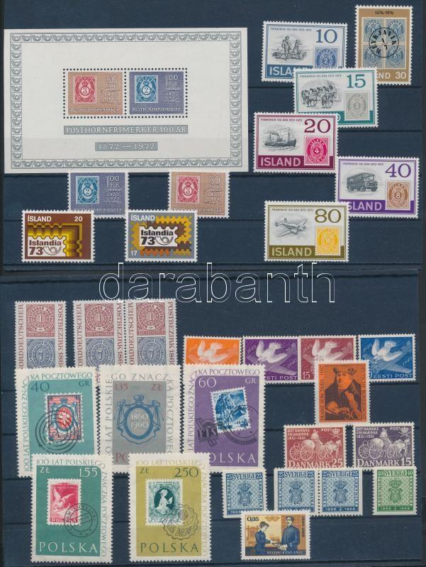 Centenary of Stamp 30 European stamp + 1 block, 100 éves a bélyeg motívum 30 db európai bélyeg + 1 blokk