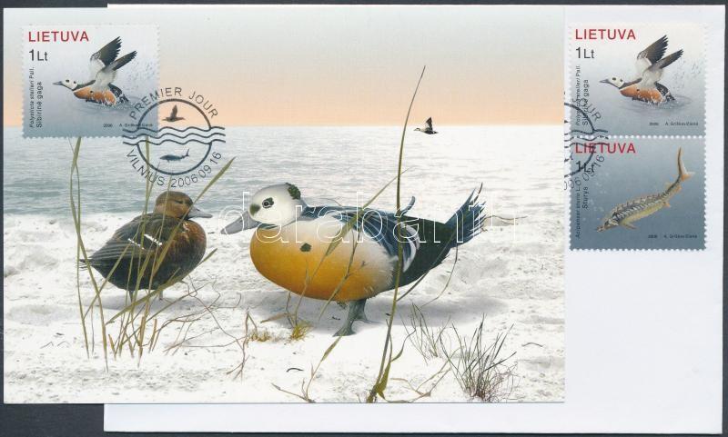 Red Book of endangered animal and plant species: aquatic plants and animals pair on FDC+ CM, Vörös Könyv a veszélyeztetett állat- és növényfajtákról: a Balti-tenger élővilága pár FDC-n + egyik érték CM-en
