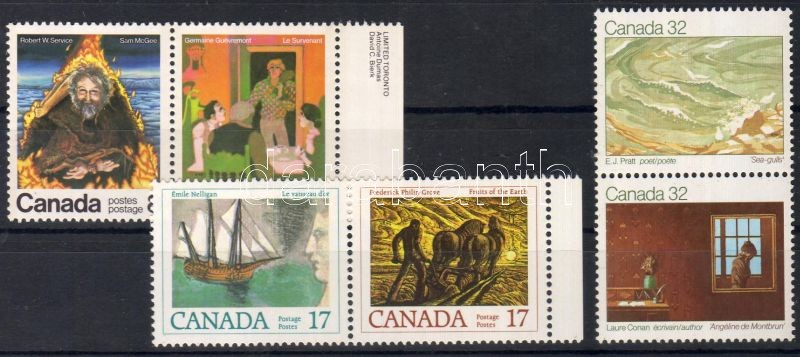 1976 + 1979 + 1983 Writers from Canada 3 different pairs (2 margin pairs in that), 1976 + 1979 + 1983 Kanadai írók 3 klf pár (közte 2 ívszéli), 1976 + 1979 + 1983 Kanadische Schriftsteller 3 verschieden Paare (2 Paare mit Rand darin)