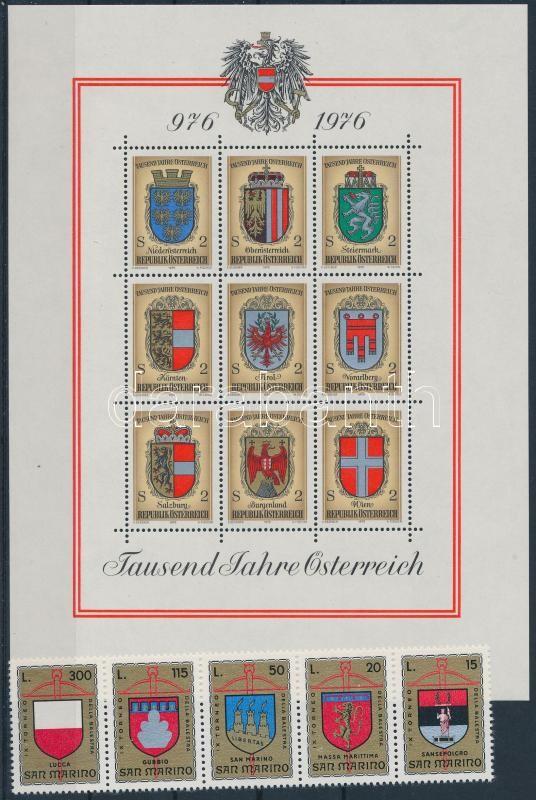 Coat of arms 68 diff. stamps + 1 block on 3 stock card, Címer motívum tétel: 68 klf bélyeg + 1 blokk 3 stecklapon