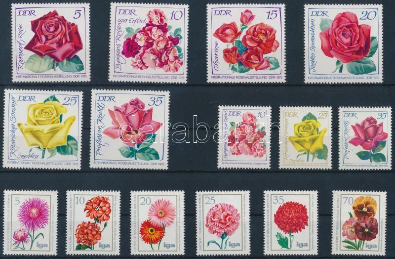 1972-1975 3 Flower set, 1972-1975 3 db Virágok sor