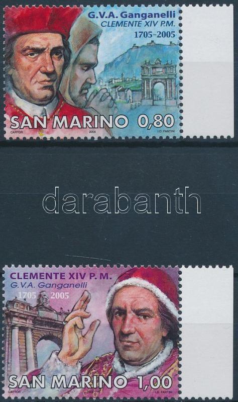 Pope Klemens XIV.'s 300th birth annivesrary set, 300 éve született XIV. Klemens pápa ívszéli sor