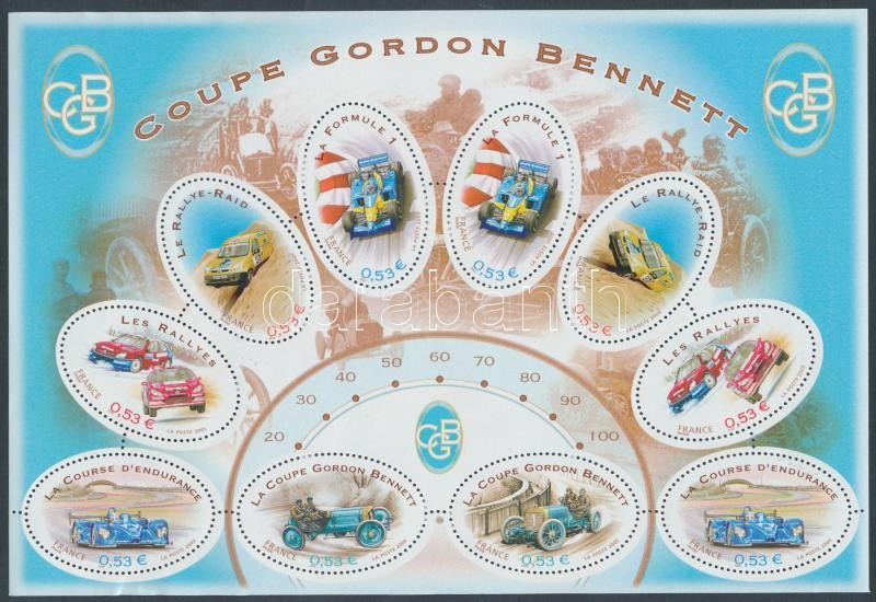 Centenary of the Gordon Bennett Cup; Car Racing mini sheet, 100 éves a Gordon-Bennett kupa; Autóverseny kisív