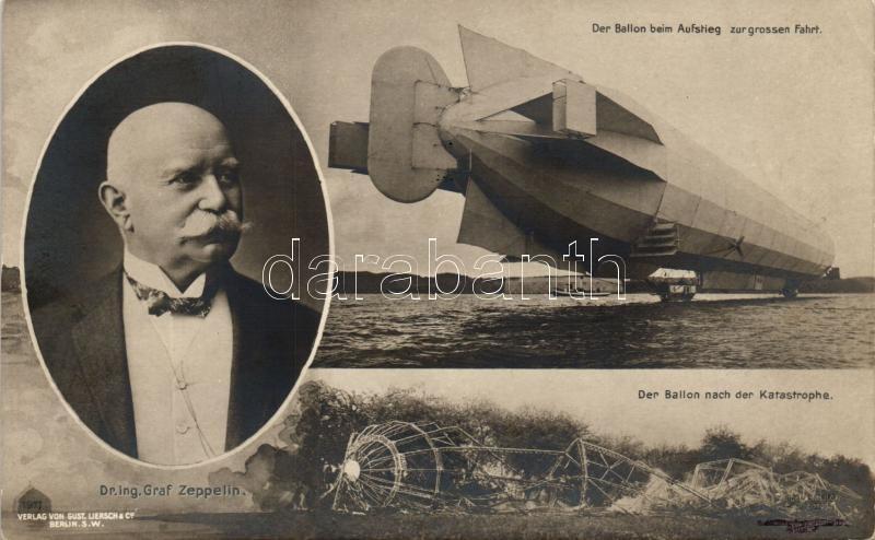 Dr. Ing. Graf Zeppelin, Der Ballon beim Aufstieg zur grossen Fahrt, nach der Katastrophe / airship accident, Ferdinand von Zeppelin gróf, léghajó baleset