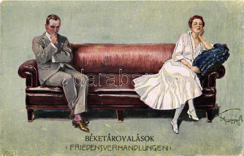 Romantic postcard, artist signed, 'Béketárgyalások' művész aláírásával