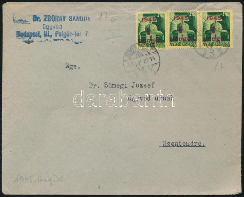 Inflation cover, (2.díjszabás) Távolsági levél Kisegítő 3x1P/1P bérmentesítéssel