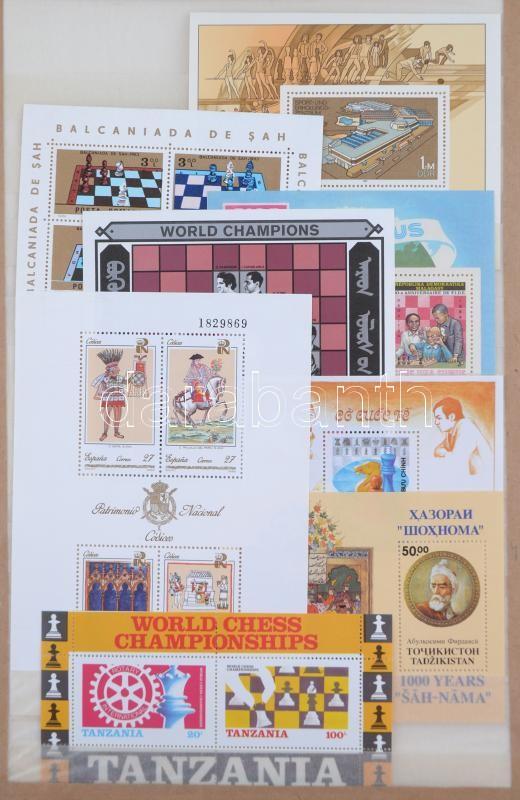 Chess 9 diff blocks from 1980's, Sakk motívum 9 klf blokk az 1980-as évekből