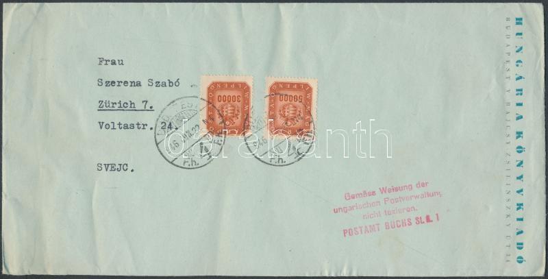Inflation cover, (20. díjszabás) Levél Milliós és Milpengős bélyegekkel bérmentesítve / Cover to Switzerland