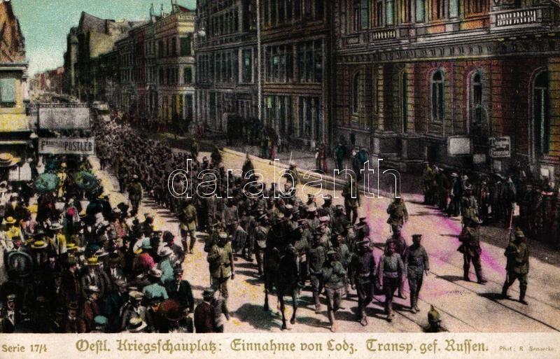 Lodz, Oestl. Kriegsschauplatz: Transport gefangene Russen; Zum Gloria Viktoria Album / Russian POWs