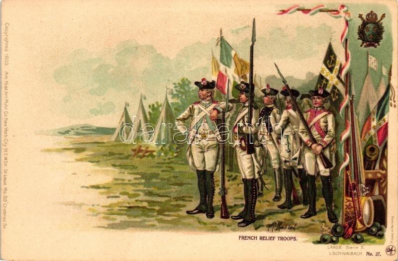 French relief troops, Lange Serie II. No. 27. litho s: R. Knötel, Francia felmentő alakulat, Lange Serie II. No. 27. litho s: R. Knötel