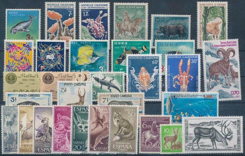 Animals 31 stamps with complete sets, Állat motívum 31 db bélyeg, közte teljes sorok