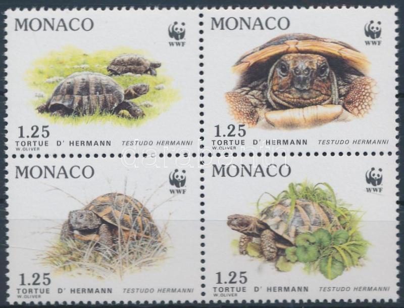 WWF Greece turtle block of 4 + 4 FDC, WWF Görög teknős négyestömb + 4 FDC