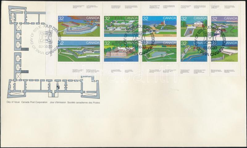 Canada day, forts (I) stampbooklet sheet on FDC, Kanadaiak napja, Erődök (I) bélyegfüzetlap FDC-n