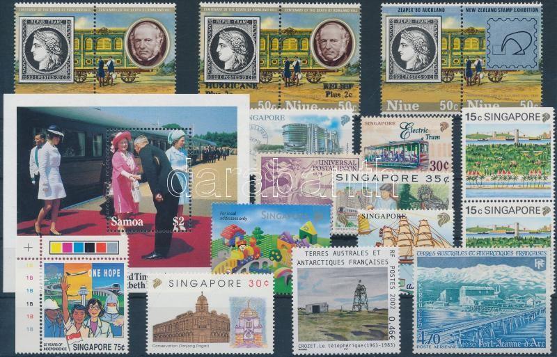 18 stamps + 1 block from overseas countries, Vegyes motívum tétel 18 db bélyeg + 1 db blokk tengerentúli országokból (vasút, közlekedés stb.)