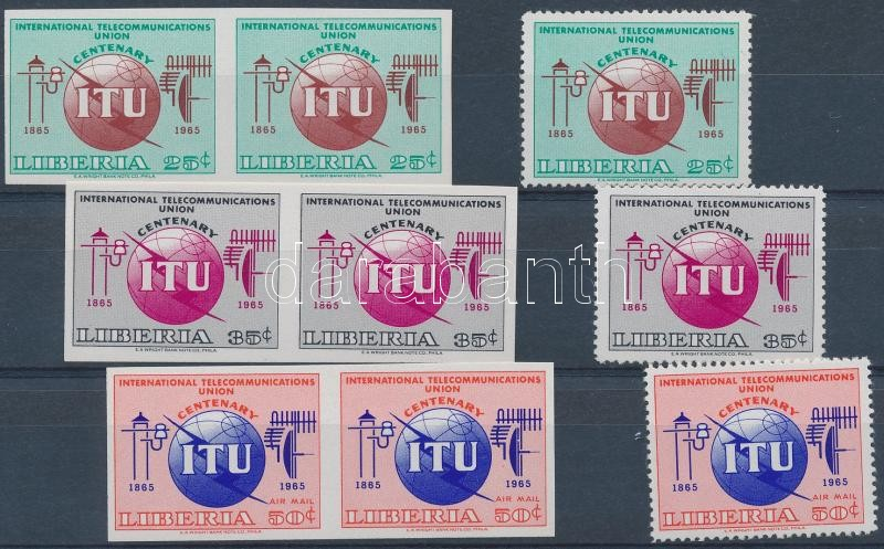 ITU perforated set + 3 imperforated pairs, ITU fogazott sor + 3 vágott pár
