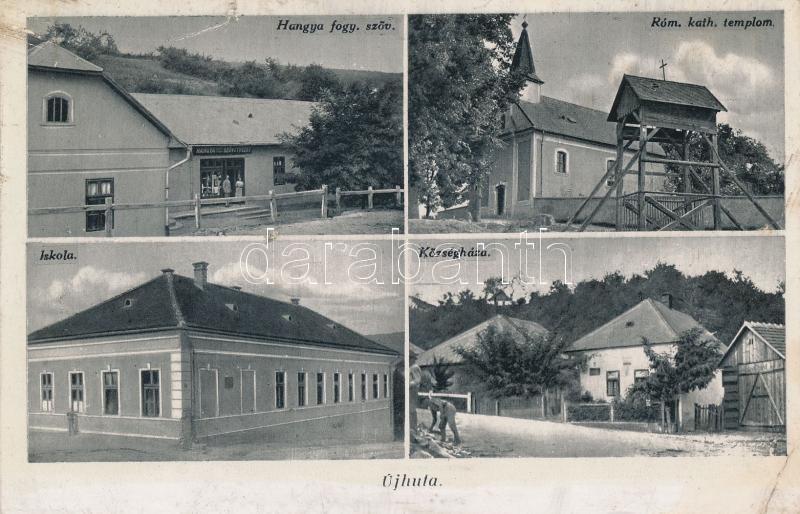 Újhuta, Községháza, Iskola, hangya fogy. szöv.