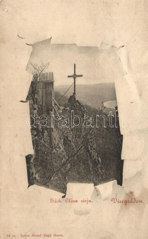 Visegrád, Zách Klára sírja, túrázók, kiadja Zoller József
