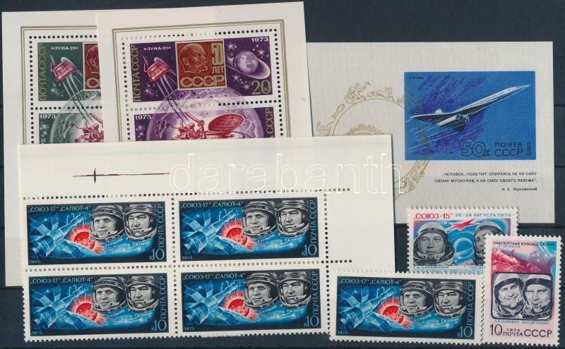 1969-1975 Space Exploration 2 minisheets + 1 block + corner block of 6 + 2 stamps, 1969-1975 Űrkutatás 2 kisív + 1 blokk + ívsarki hatostömb + 2 önálló érték