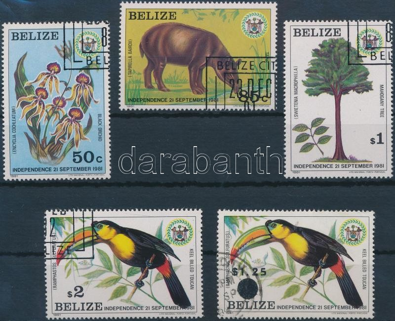 1981/1983 Flora and fauna set + overpritned stamps, 1981/1983 Élővilág sor + felülnyomott érték