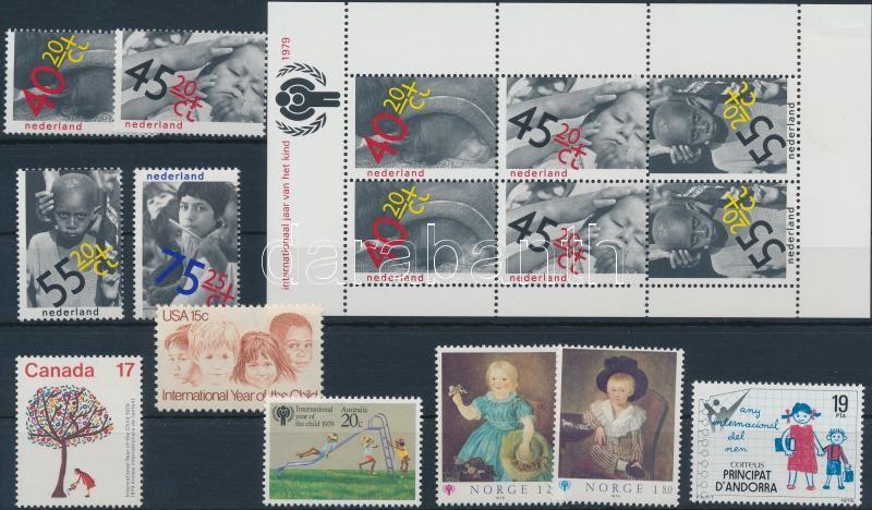 International Children's Year editions fom 13 diff. countries, 8 stamps, 4 diff. sets, 2 blocks, Nemzetközi Gyermek év 13 klf ország kiadása 8 önálló érték, 4 klf sor, 2 blokk