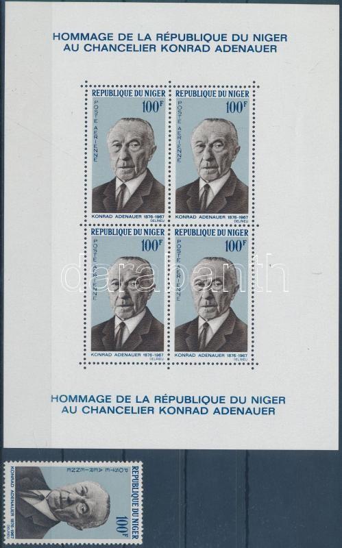 Adenauer bélyeg + blokk, Adenauer stamp + block