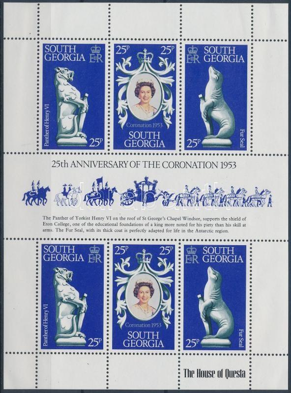 25th anniversary of coronation Elizabeth II minisheet, II. Erzsébet megkoronázásának 25. évfordulója kisív