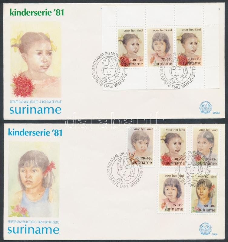 Children set + block 2 FDC, Gyerekek sor + blokk 2 FDC