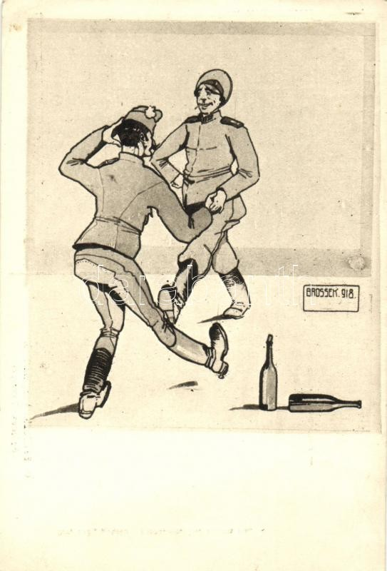 Friedenskarikaturen / WWI Russian-Hungarian military peace caricatures, ARS Nr. 118. s: O. Brossek, I. világháborús Orosz-Magyar béke karikatúra, ARS Nr. 118. s: O. Brossek