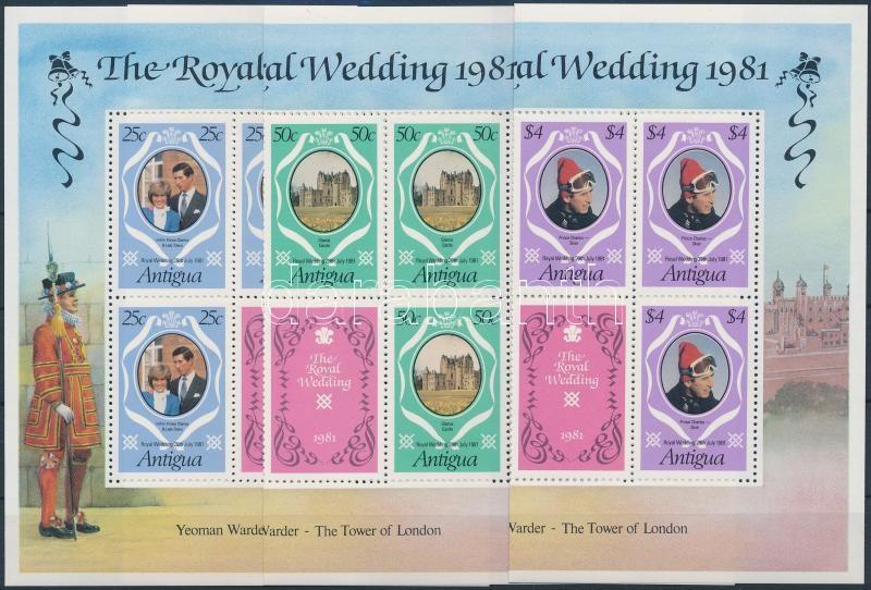 Prince Charles and Diana's wedding folded minisheet set, Diana és Károly herceg esküvője hajtott kisívsor