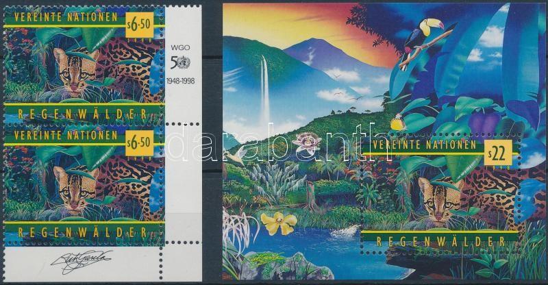 50th anniversary of WHO Protecting tropical rainforests corner realtion + block, 50 éves a WHO: trópusi őserdők védelme bélyeg ívsarki összefüggés + blokk