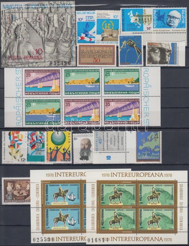 1977-1978 Európa motívum 7 klf önálló érték + 1 blokk + 1 blokksor + 2 klf sor + 2 db hármascsík hatostömbben 2 db stecklapon, 1977-1978 Europe 7 diff stamps + 1 block + 1 block set + 2 diff sets + 2 stripes of 3 in block of 6