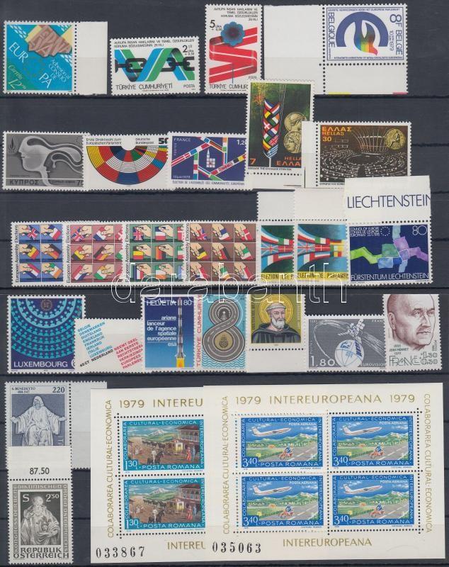 1978-1980 Europe 15 diff sets + 1 block set + 4 diff sets, 1978-1980 Európa motívum 15 klf sor +1 blokksor + 4 klf sor 2 db stecklapon