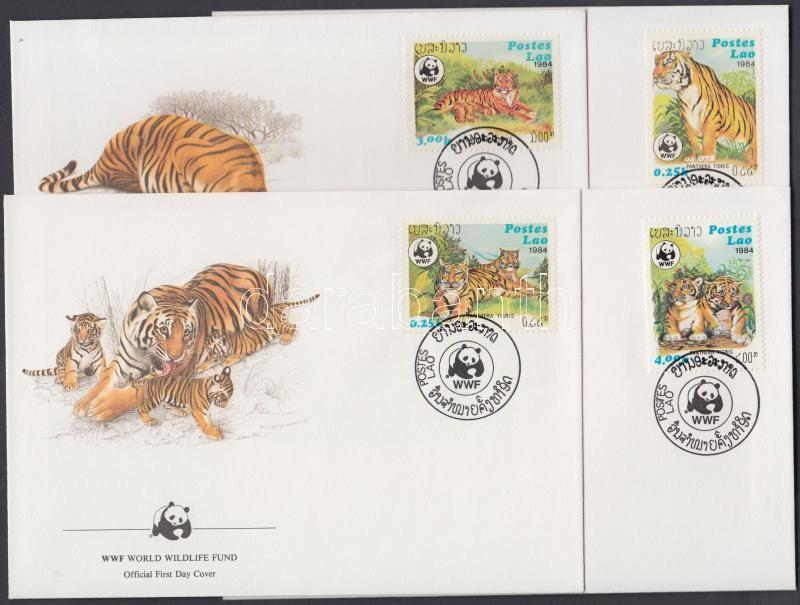 WWF tigers set 4 FDC, WWF Tigrisek sor 4 FDC