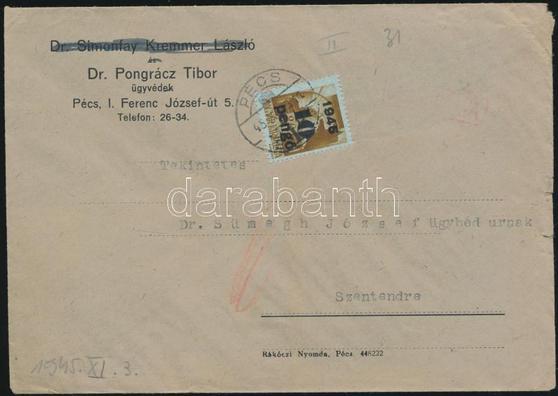 Inflation cover, (4.díjszabás) Távolsági cenzúrázott levél Kisegítő (II) bérmentesítéssel