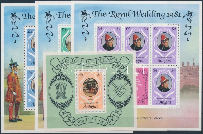 Prince Charles and Diana's wedding minisheet + block, Diana és Károly herceg kisívsor + blokk