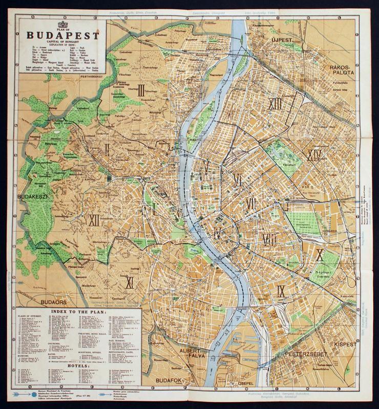 Cca 1940 Budapest Terkep Hajtogatva Jo Allapotban 47x43cm