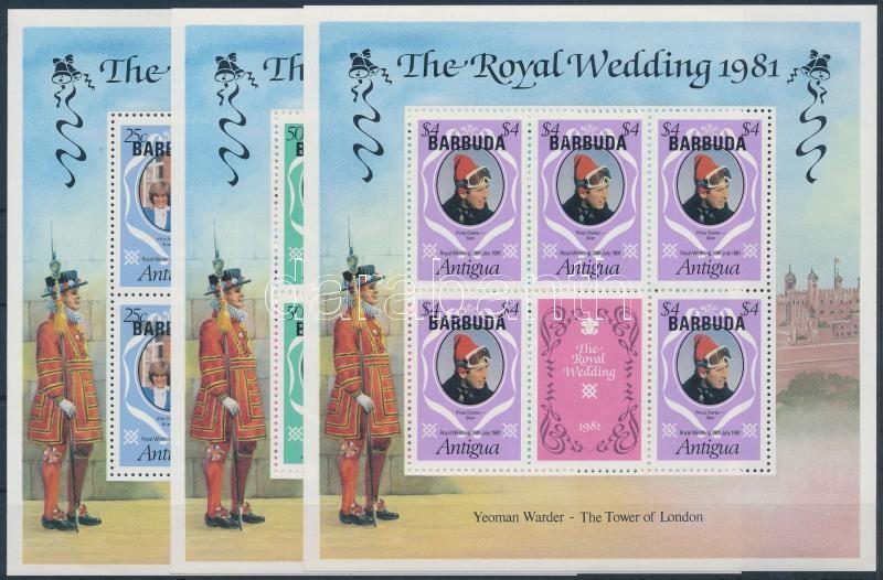 Prince Charles and Diana's wedding mini sheet set, Diana és Károly herceg esküvője kisívsor