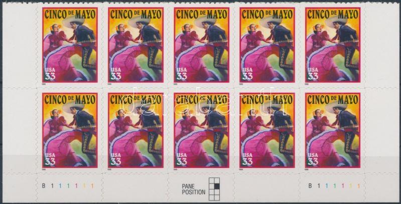 Cinco de Mayo Latin American festival self-adhesive corner block of 10, Latin-amerikai Cinco de Mayo fesztivál öntapadós ívsarki tízestömb