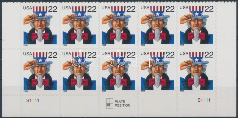 1998 Uncle Sam öntapadós ívsarki tízestömb Mi 3064